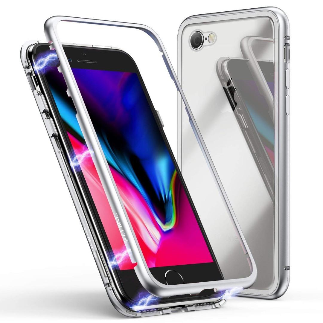 Husa tip bumper magnetic + folie sticla securizata spate, iPhone SE 2 (2020), iPhone 8, iPhone 7 - CaseMe, Alb