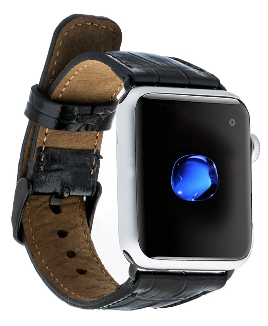 Curea piele naturala premium, model piele crocodil, adaptori negri, Apple Watch SE, 6, 5, 4 - 44mm, 1, 2, 3 - 42mm Bouletta, Negru