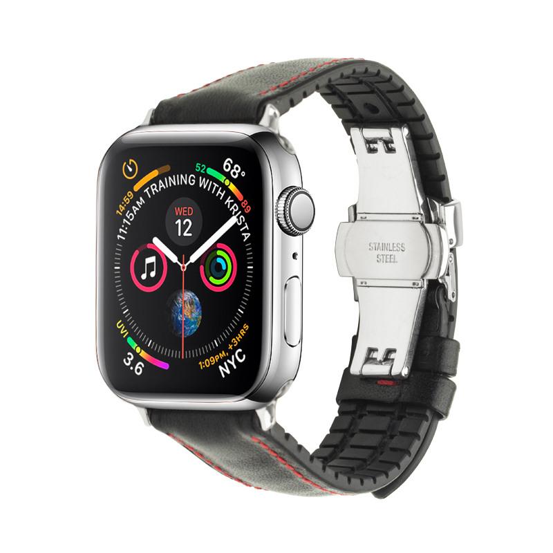 Curea din piele naturala nappa cusatura contrast rosie, cauciuc moale pe interior, Apple Watch Series 5, 4 - 44mm, 1, 2, 3 - 42mm - Qialino, Negru