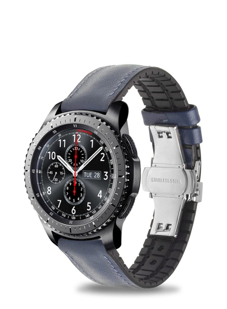 Curea din piele naturala nappa, cauciuc moale pe interior, Samsung Galaxy Watch 46mm, Samsung Gear S3 Classic, S3 Frontier, 22mm, ROPS by Qialino, Albastru