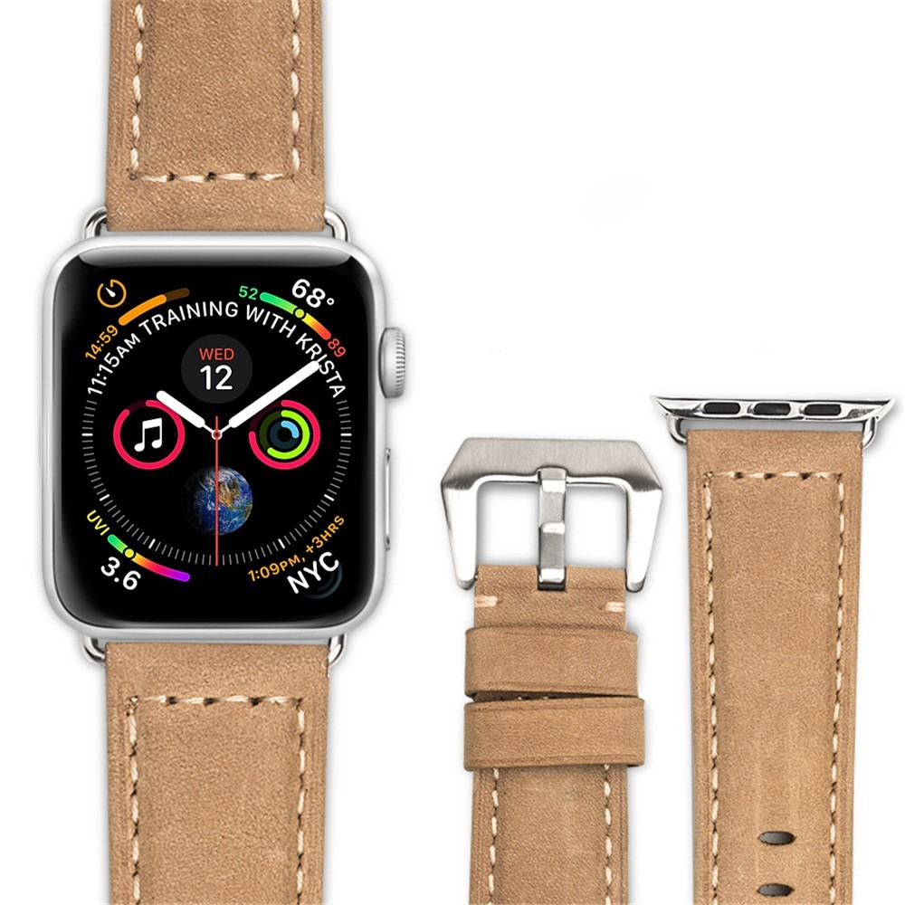 Curea piele naturala, Apple Watch 5, 4 - 44mm, 1, 2, 3 - 42mm, ROPS Art Luxury by Qialino, Maro camel