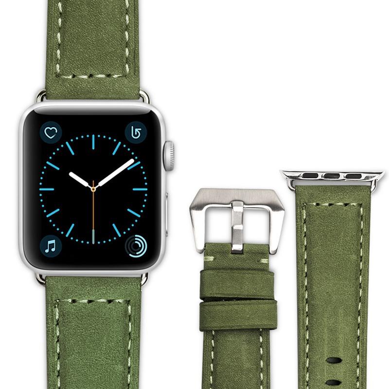 Curea piele naturala, Apple Watch SE, 6, 5, 4 - 44mm, 1, 2, 3 - 42mm, ROPS Art Luxury by Qialino, Olive green