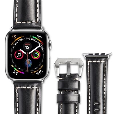 Curea piele naturala fina, cusatura contrast, Apple Watch SE, 6, 5, 4 - 44mm, 1, 2, 3 - 42mm, ROPS by Qialino, Negru