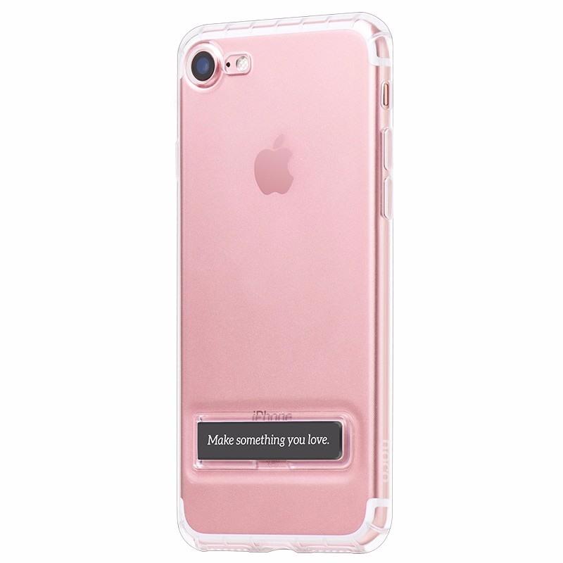Husa rezistenta la socuri, functie stand, back cover, iPhone 8 / iPhone 7 - Hoco, Transparent & negru