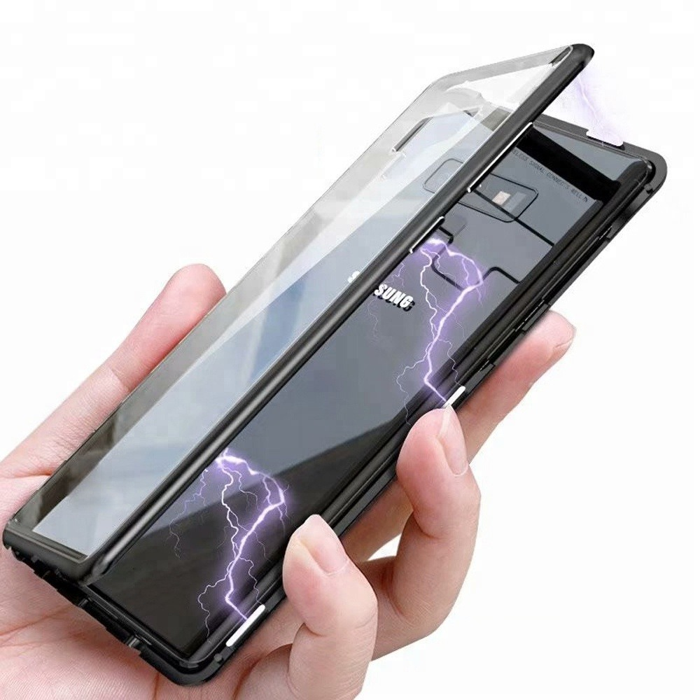 Husa tip bumper magnetic din aluminiu usor + folie sticla securizata spate, Samsung Galaxy Note 8 - CaseMe, Negru