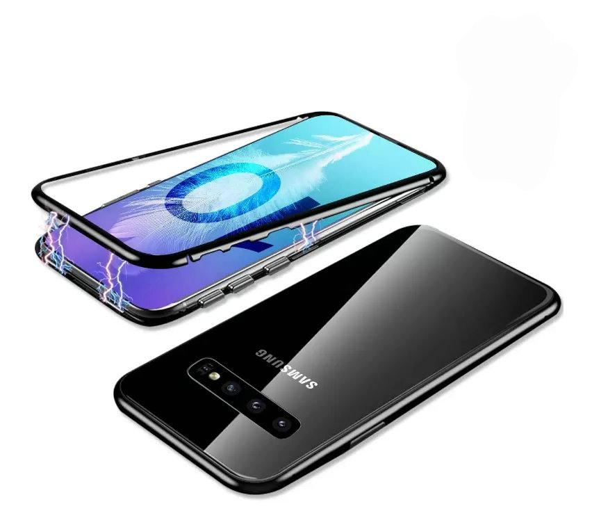 Husa tip bumper magnetic din aluminiu usor + folie sticla securizata spate, Samsung Galaxy S10 Plus - CaseMe, Negru
