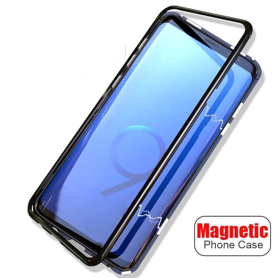 Husa tip bumper magnetic din aluminiu usor + folie sticla securizata spate, Samsung Galaxy S9 - CaseMe, Negru