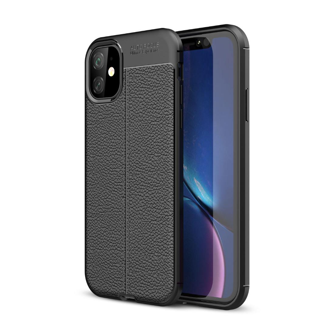 Husa silicon + TPU cu model piele, back cover, iPhone 11 - CaseME, Negru