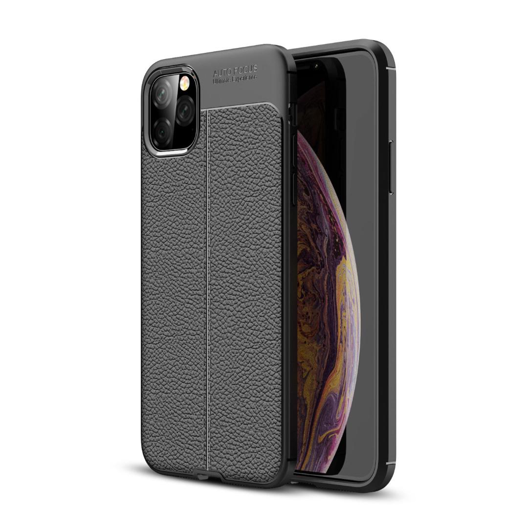 Husa silicon + TPU cu model piele, back cover, iPhone 11 Pro - CaseME, Negru