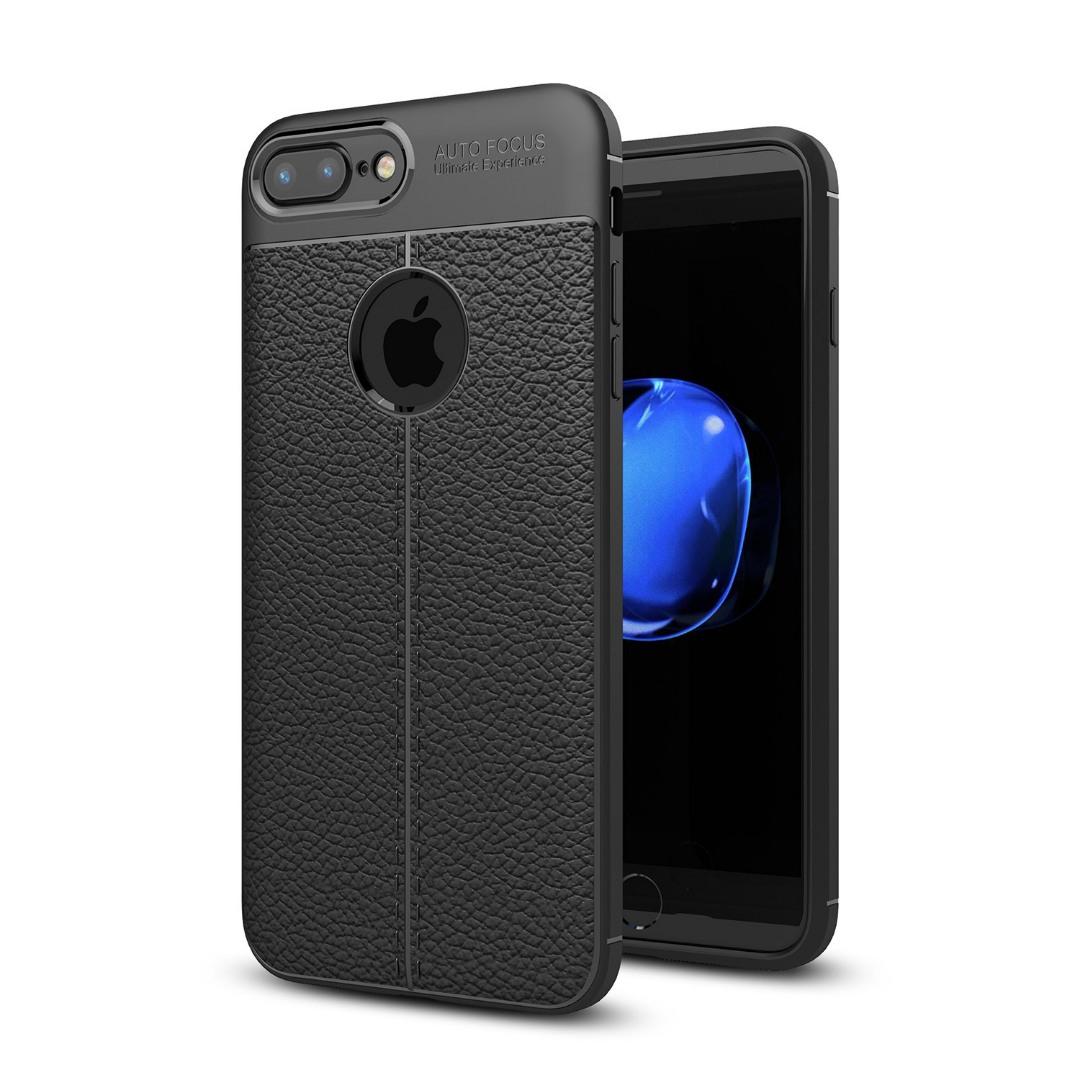 Husa silicon + TPU cu model piele, back cover, iPhone 8 Plus / 7 Plus - CaseME, Negru
