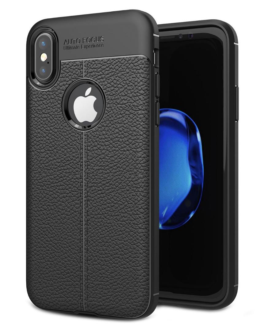 Husa silicon + TPU cu model piele, back cover, iPhone X / XS - CaseME, Negru