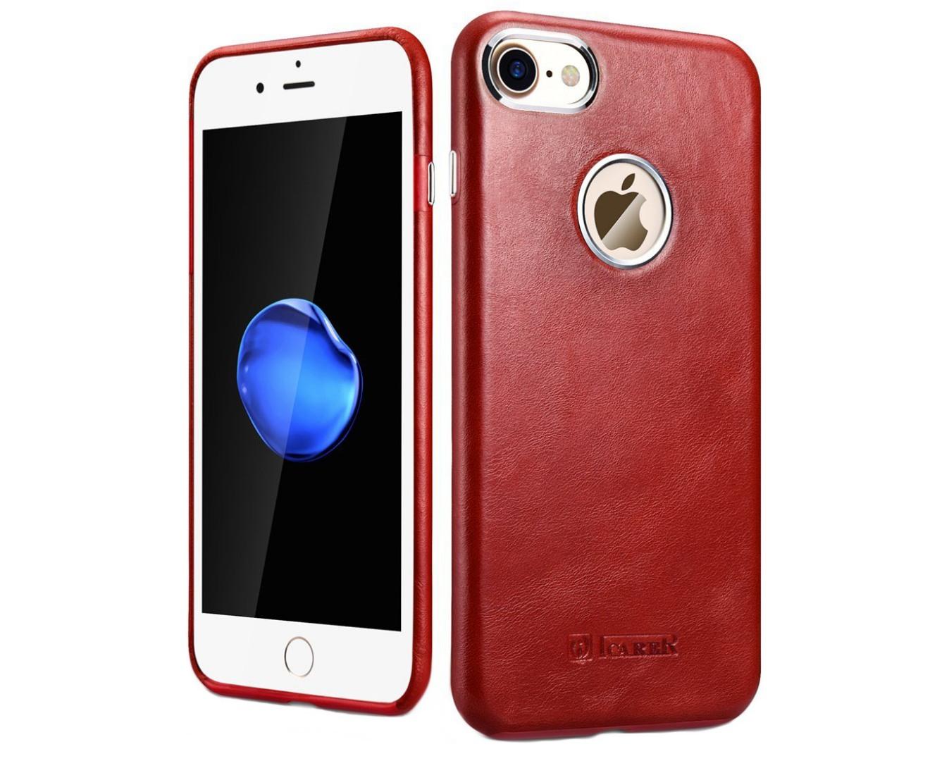 Husa din piele naturala, tip back cover, iPhone 7 - iCarer Transformers Vintage Series, Rosu burgund