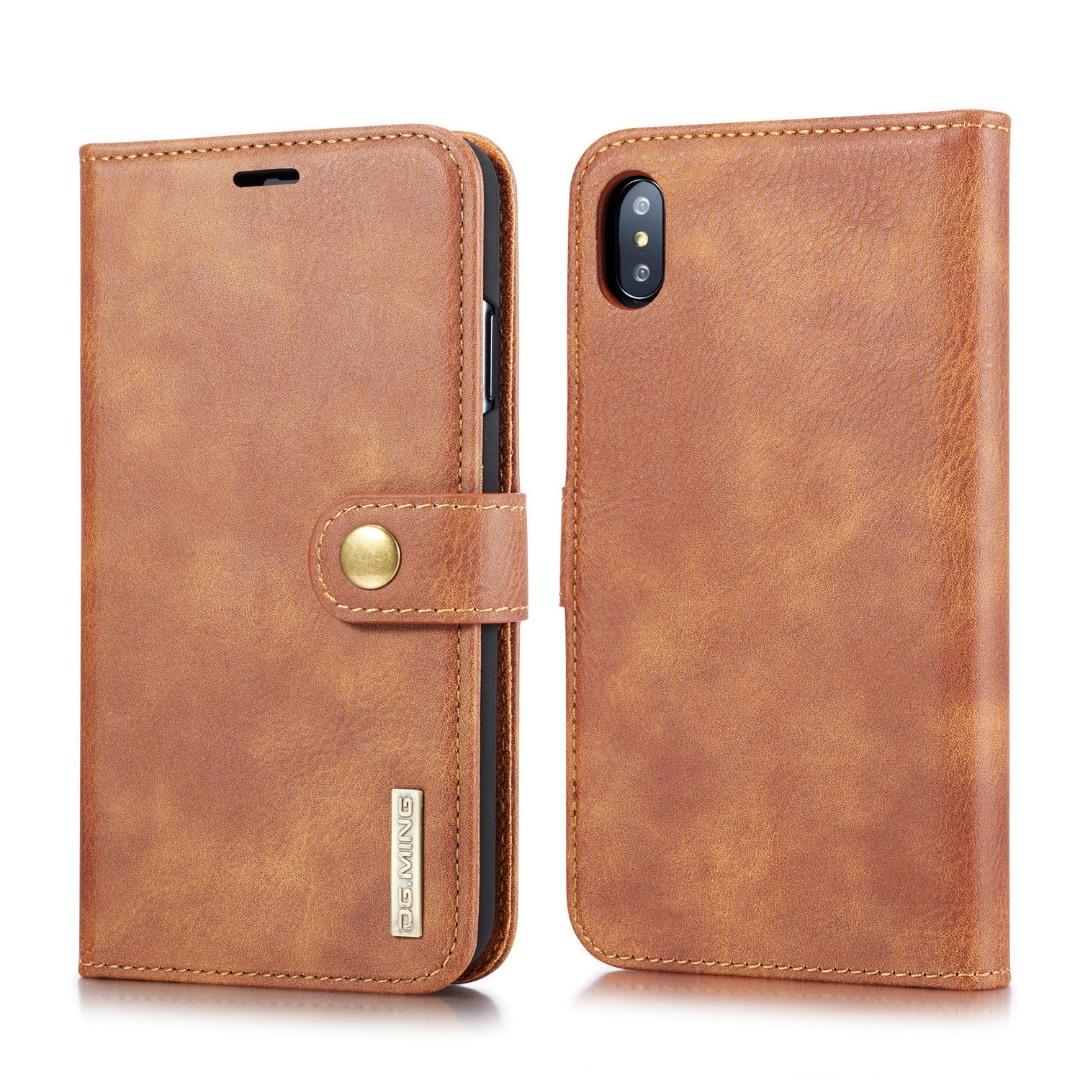 Husa piele, 2 in 1, protectie superioara, inchidere magnetica, tip portofel, back cover, stand, iPhone X / XS - CaseMe, Maro