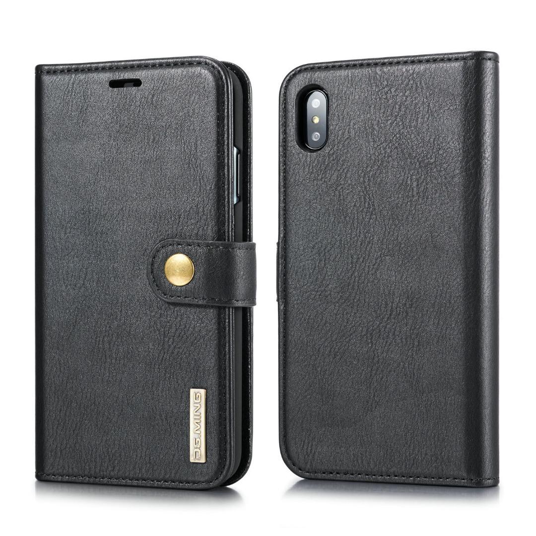 Husa piele, 2 in 1, protectie superioara, inchidere magnetica, tip portofel, back cover, stand, iPhone X / XS - CaseMe, Negru