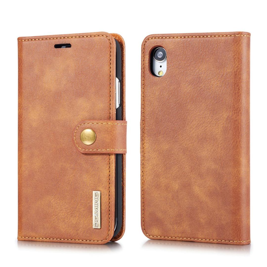 Husa piele, 2 in 1, protectie superioara, inchidere magnetica, tip portofel, back cover, stand, iPhone XR - CaseMe, Maro
