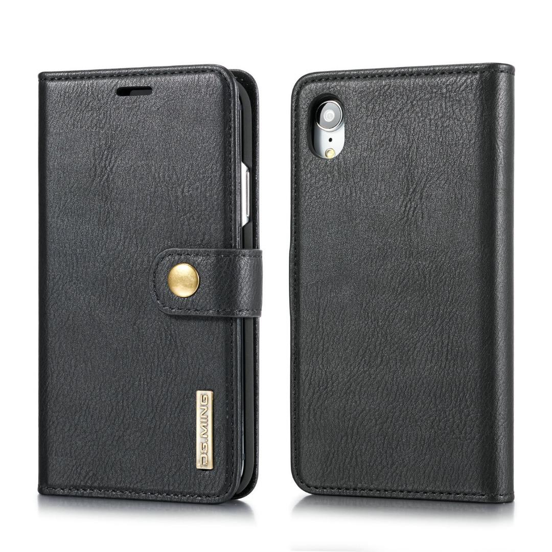 Husa piele, 2 in 1, protectie superioara, inchidere magnetica, tip portofel, back cover, stand, iPhone XR - CaseMe, Negru