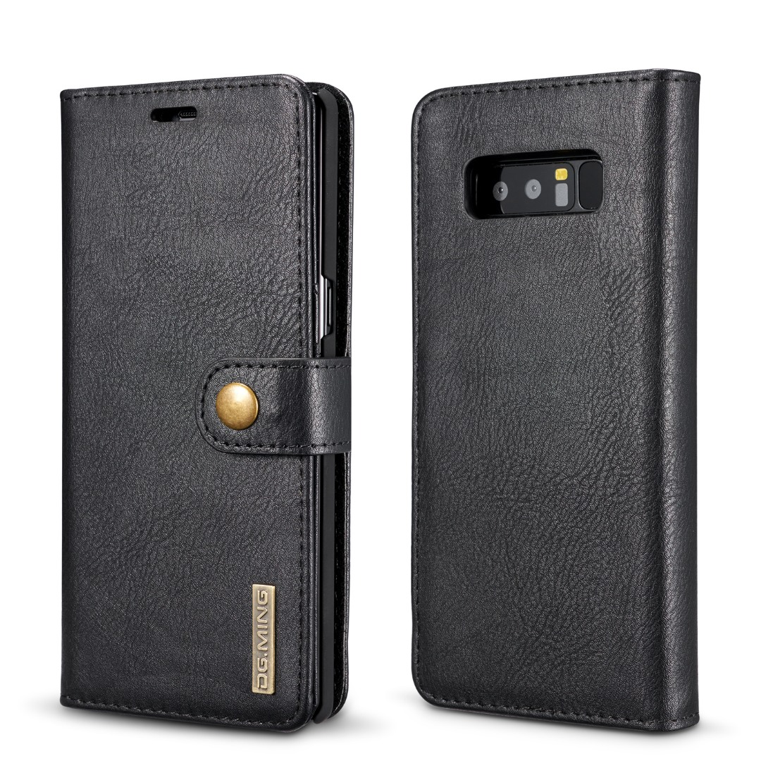 Husa piele, 2 in 1, protectie superioara, inchidere magnetica, tip portofel, back cover, stand, Samsung Galaxy Note 8 - CaseMe, Negru
