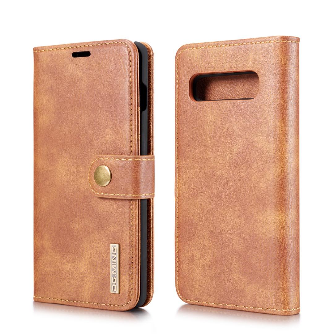 Husa piele, 2 in 1, protectie superioara, inchidere magnetica, tip portofel, back cover, stand, Samsung Galaxy S10 - CaseMe, Maro