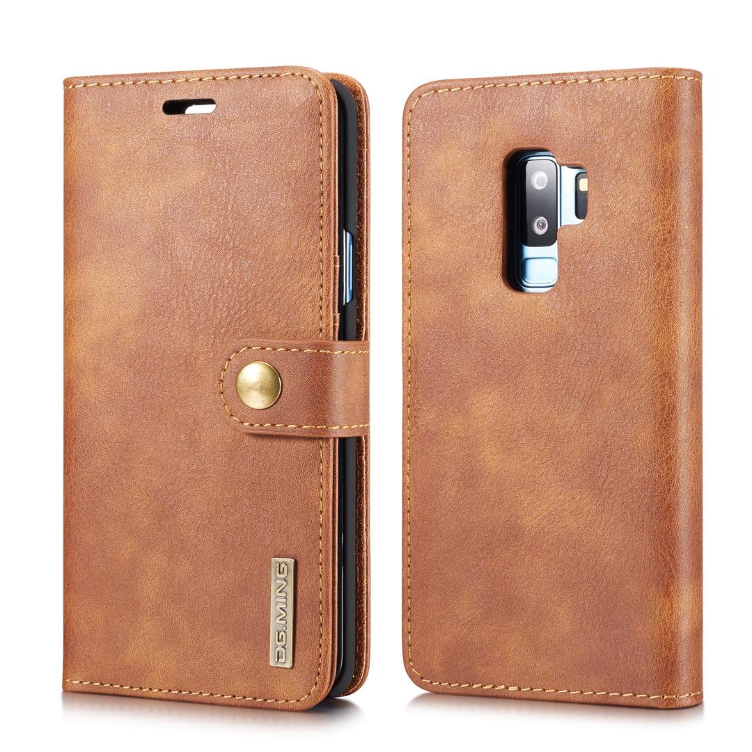 Husa piele, 2 in 1, protectie superioara, inchidere magnetica, tip portofel, back cover, stand, Samsung Galaxy S9 Plus - CaseMe, Maro