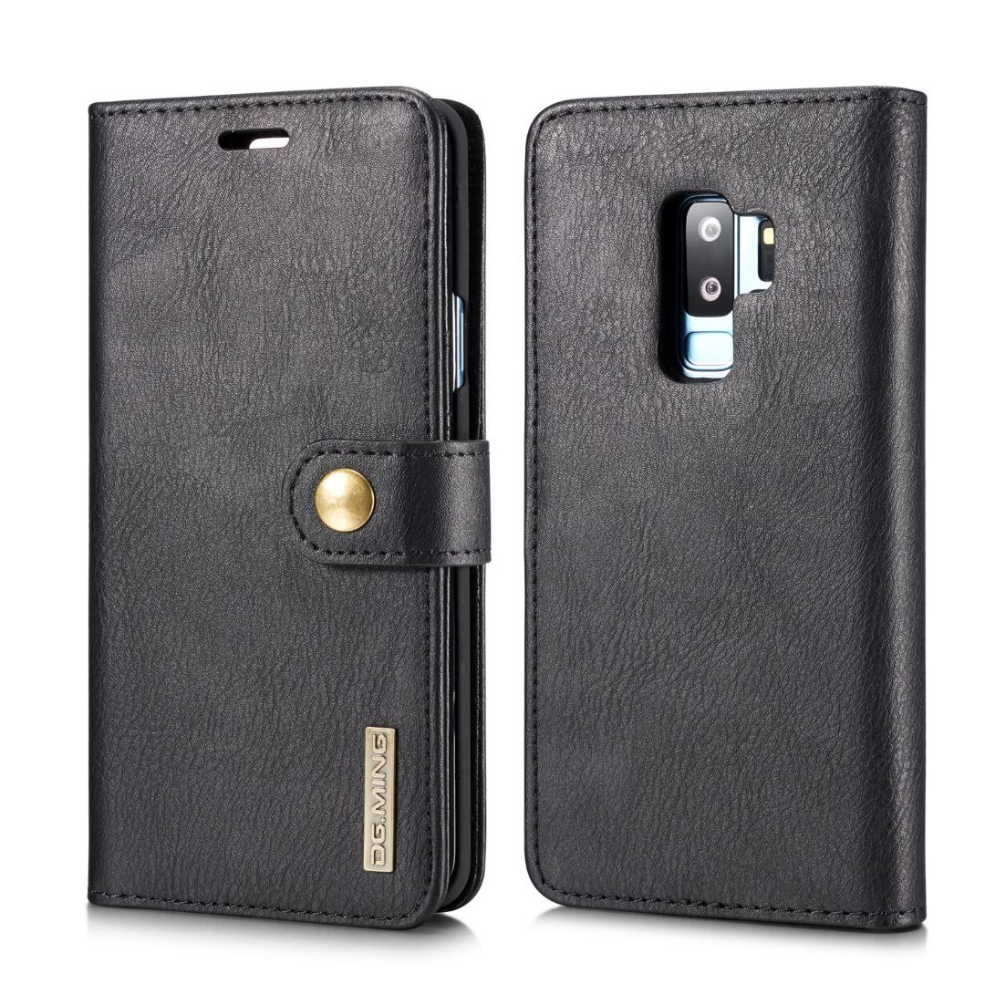 Husa piele, 2 in 1, protectie superioara, inchidere magnetica, tip portofel, back cover, stand, Samsung Galaxy S9 Plus - CaseMe, Negru