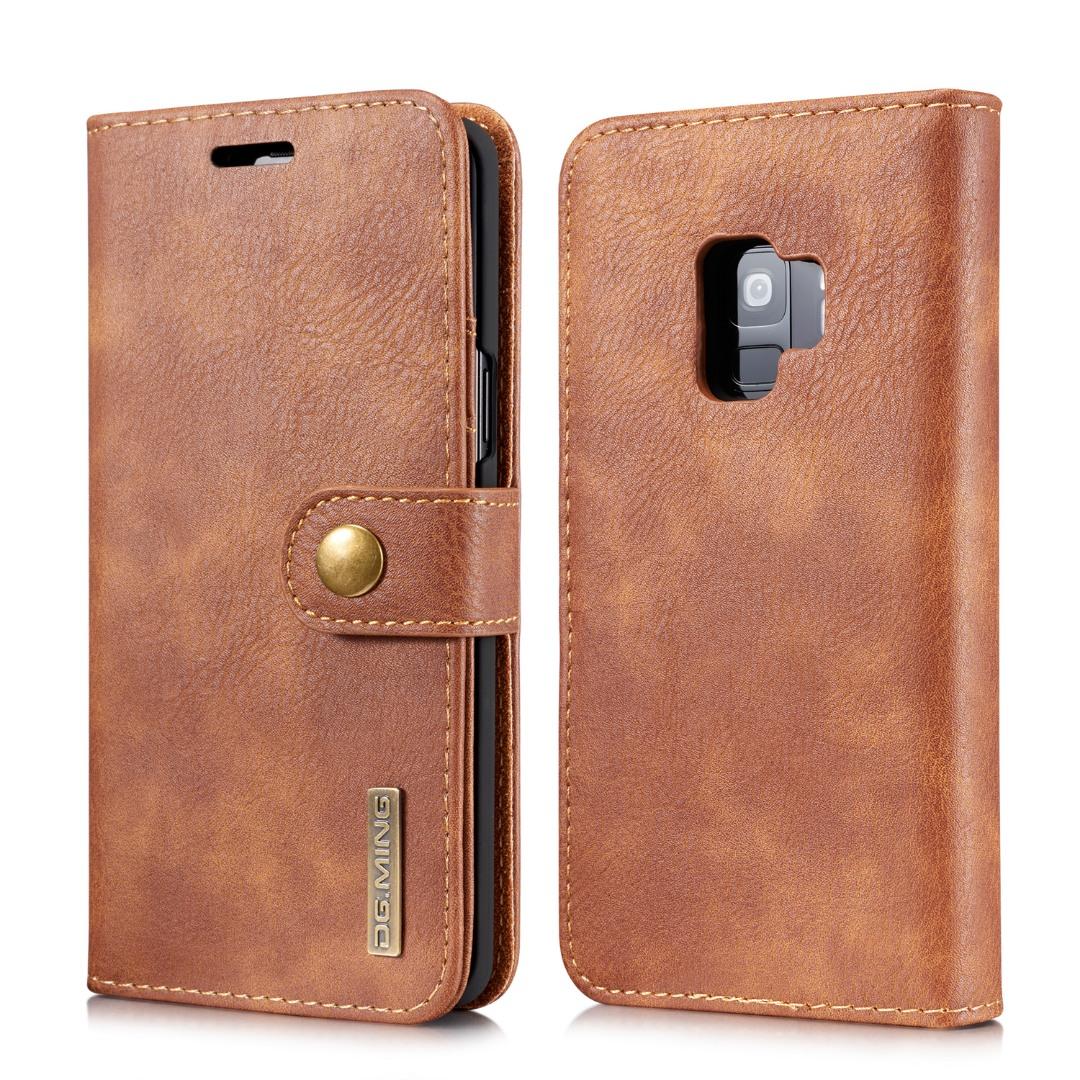 Husa piele, 2 in 1, protectie superioara, inchidere magnetica, tip portofel, back cover, stand, Samsung Galaxy S9 - CaseMe, Maro