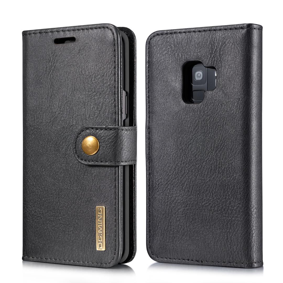 Husa piele, 2 in 1, protectie superioara, inchidere magnetica, tip portofel, back cover, stand, Samsung Galaxy S9 - CaseMe, Negru