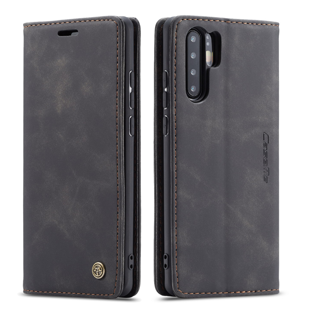 Husa slim piele, tip portofel, stand, inchidere magnetica, textura catifelata, Huawei P30 Pro - CaseMe, Negru