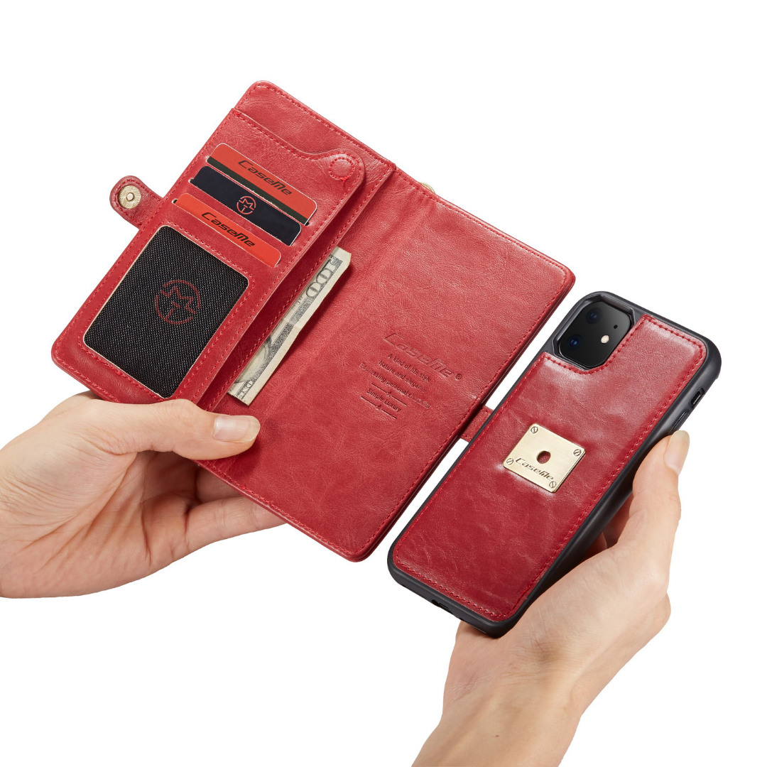 Husa piele portofel, multifunctionala, buzunare carduri, bani, casti, chei, iPhone 11 - CaseME, Rosu