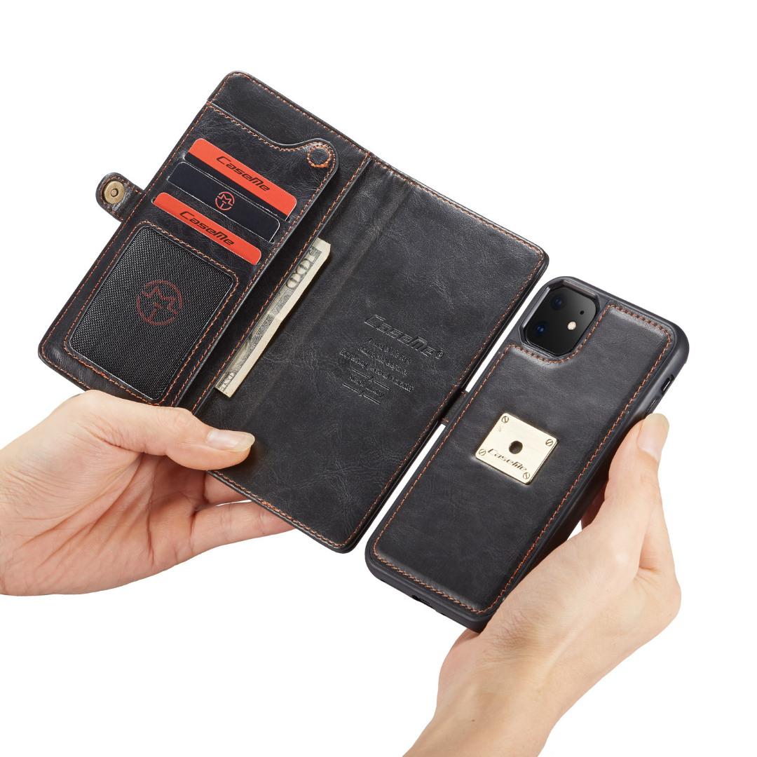 Husa piele portofel, multifunctionala, buzunare carduri, bani, casti, chei, iPhone 11 - CaseME, Negru