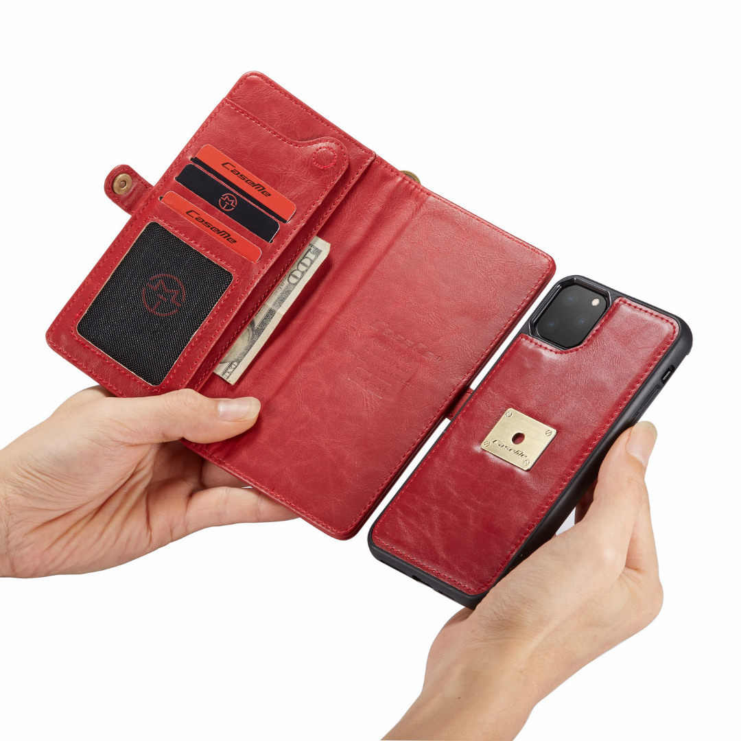 Husa piele portofel, multifunctionala, buzunare carduri, bani, casti, chei, iPhone 11 Pro - CaseME, Rosu
