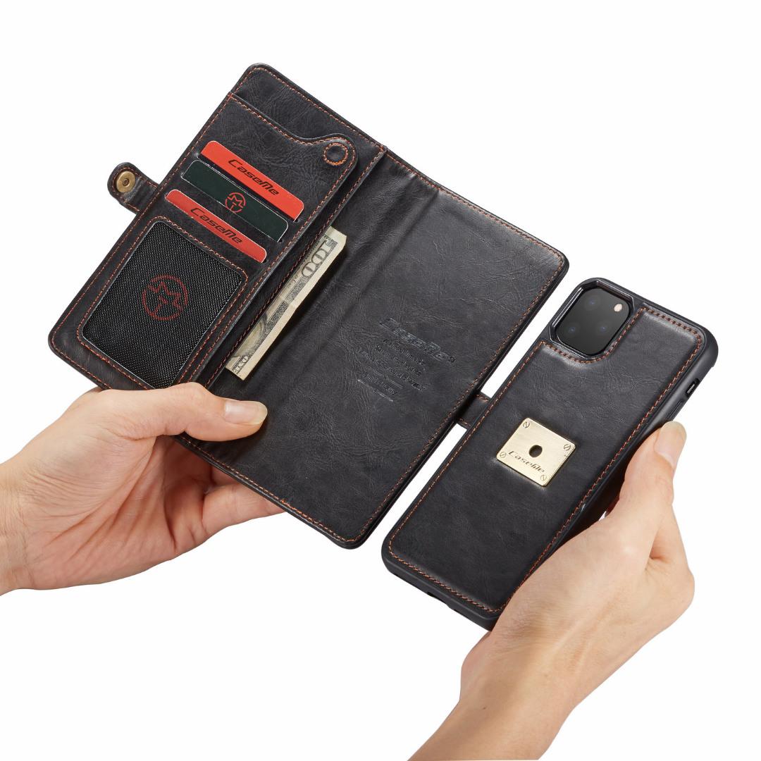Husa piele portofel, multifunctionala, buzunare carduri, bani, casti, chei, iPhone 11 Pro - CaseME, Negru