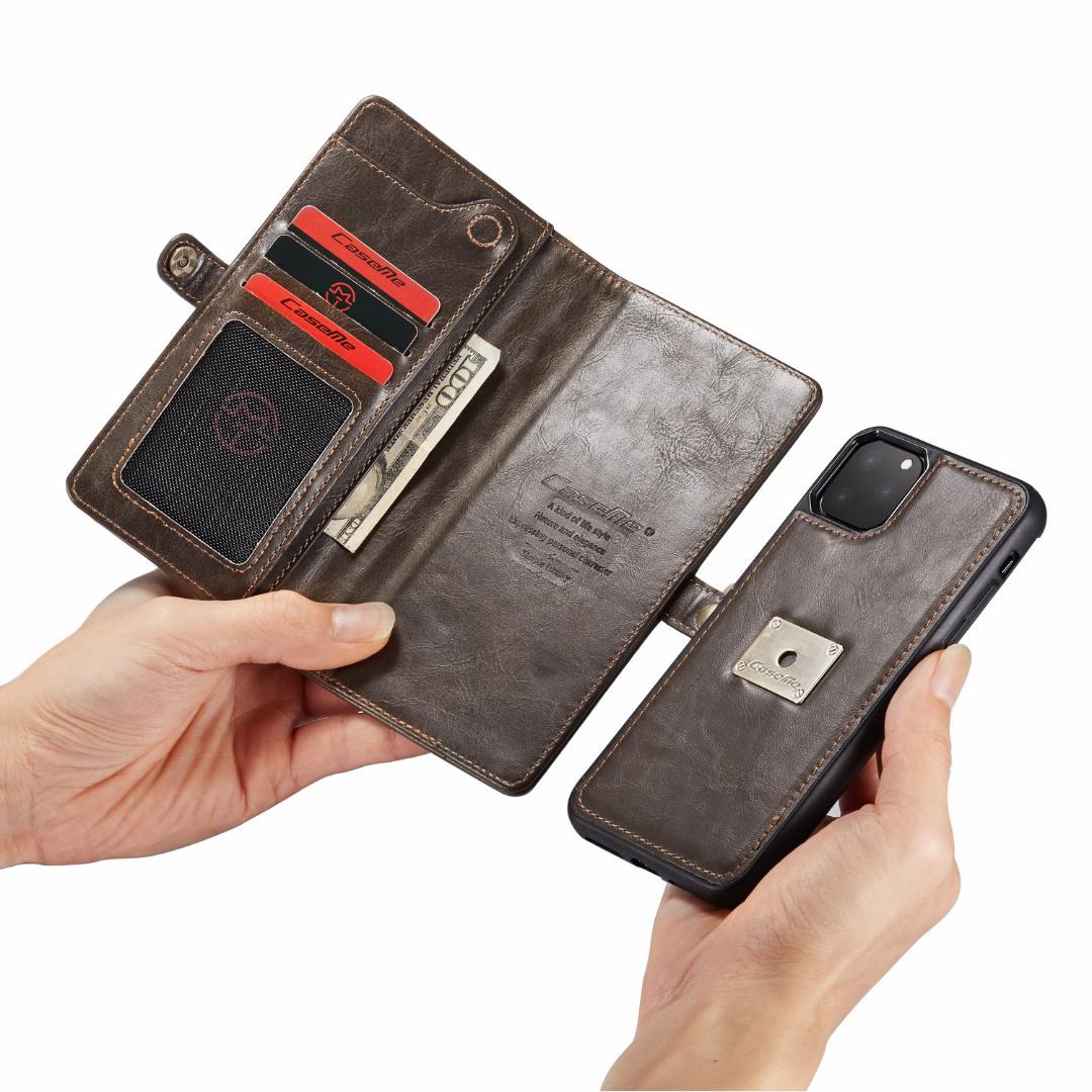 Husa piele portofel, multifunctionala, buzunare carduri, bani, casti, chei, iPhone 11 Pro - CaseME, Maro coffee
