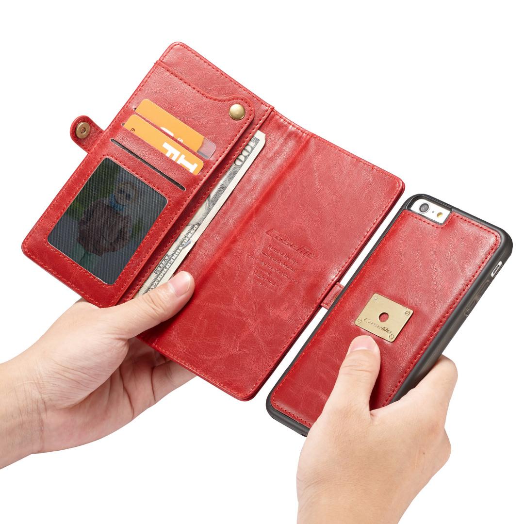 Husa piele portofel, multifunctionala, buzunare carduri, bani, casti, chei, iPhone 6 / 6s - CaseME, Rosu