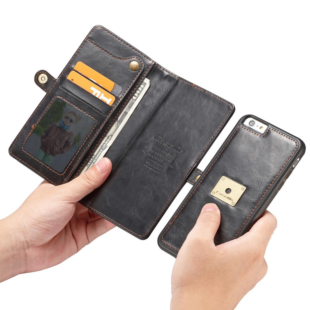 Husa piele portofel, multifunctionala, buzunare carduri, bani, casti, chei, iPhone 6 / 6s - CaseME, Negru