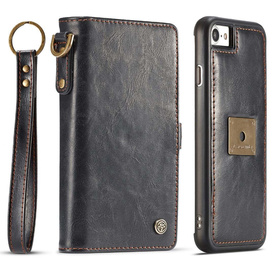 Husa piele portofel, multifunctionala, buzunare carduri, bani, casti, chei, iPhone SE 2 (2020), iPhone 8, iPhone 7 - CaseME, Negru