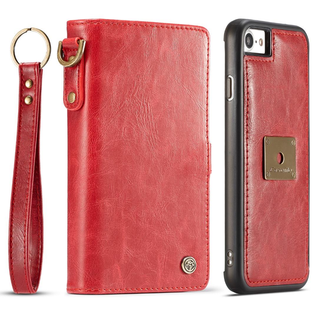 Husa piele portofel, multifunctionala, buzunare carduri, bani, casti, chei, iPhone 8 / iPhone 7 - CaseME, Rosu