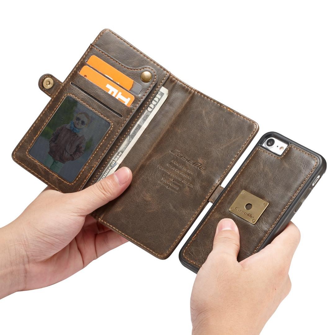 Husa piele portofel, multifunctionala, buzunare carduri, bani, casti, chei, iPhone SE 2 (2020), iPhone 8, iPhone 7 - CaseME, Maro coffee