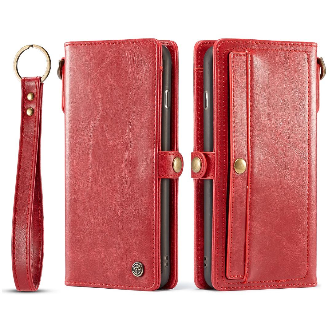 Husa piele portofel, multifunctionala, buzunare carduri, bani, casti, chei, iPhone 8 Plus / 7 Plus - CaseME, Rosu