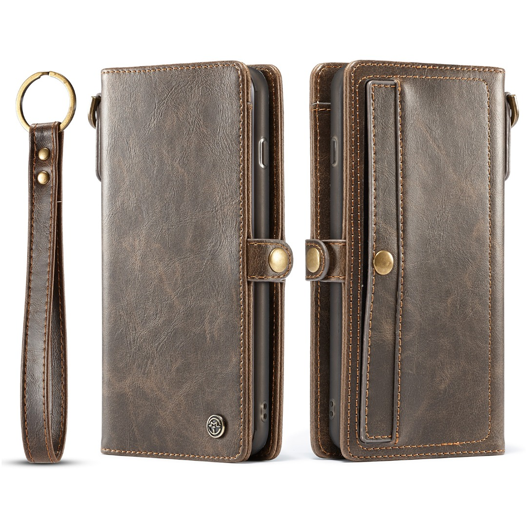 Husa piele portofel, multifunctionala, buzunare carduri, bani, casti, chei, iPhone 8 Plus / 7 Plus - CaseME, Maro coffee