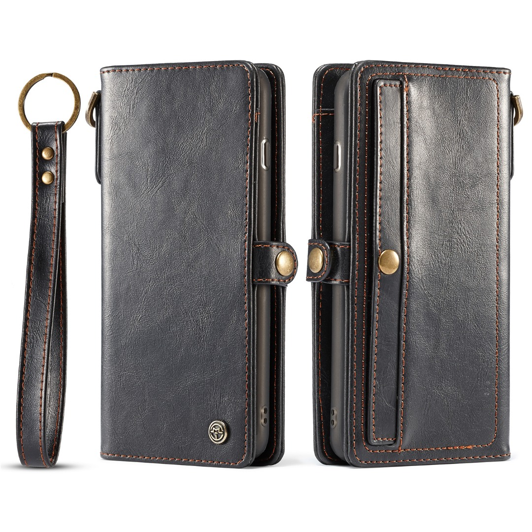 Husa piele portofel, multifunctionala, buzunare carduri, bani, casti, chei, iPhone 8 Plus / 7 Plus - CaseME, Negru