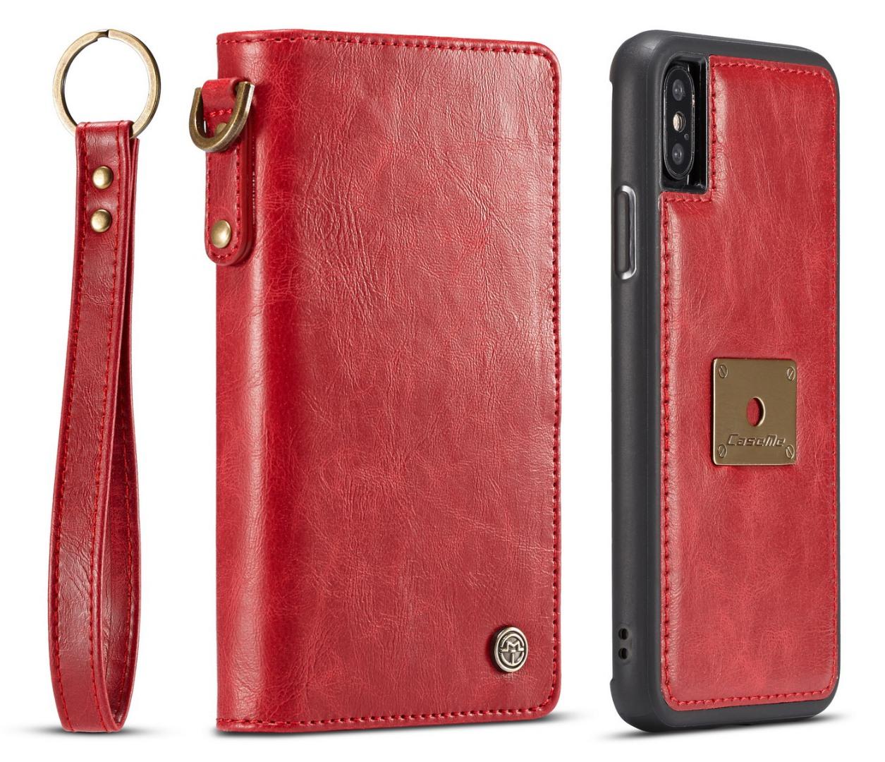 Husa piele portofel, multifunctionala, buzunare carduri, bani, casti, chei, iPhone X / XS - CaseMe, Rosu