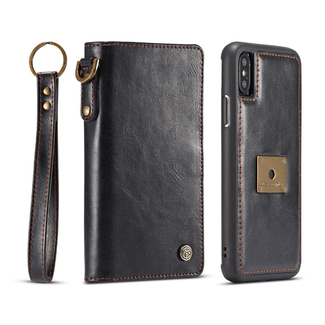 Husa piele portofel, multifunctionala, buzunare carduri, bani, casti, chei, iPhone X / XS - CaseME, Negru