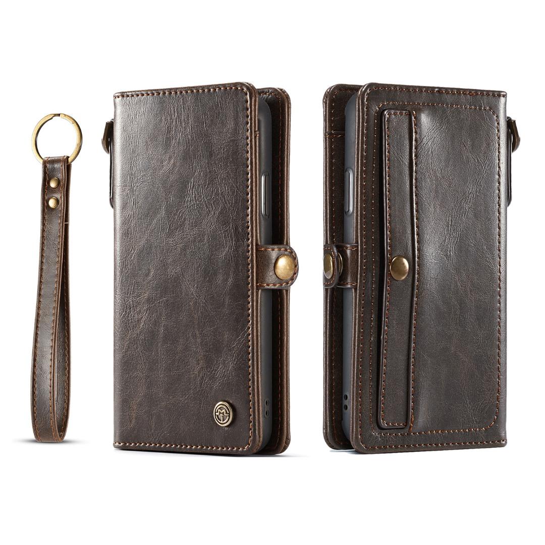 Husa piele portofel, multifunctionala, buzunare carduri, bani, casti, chei, iPhone XR - CaseME, Maro coffee