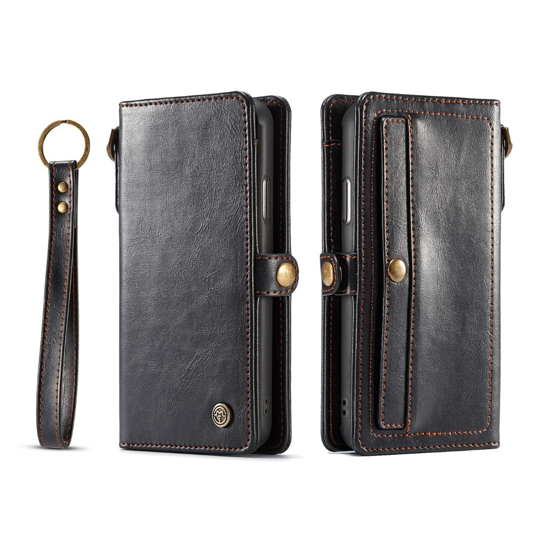 Husa piele portofel, multifunctionala, buzunare carduri, bani, casti, chei, iPhone XR - CaseME, Negru