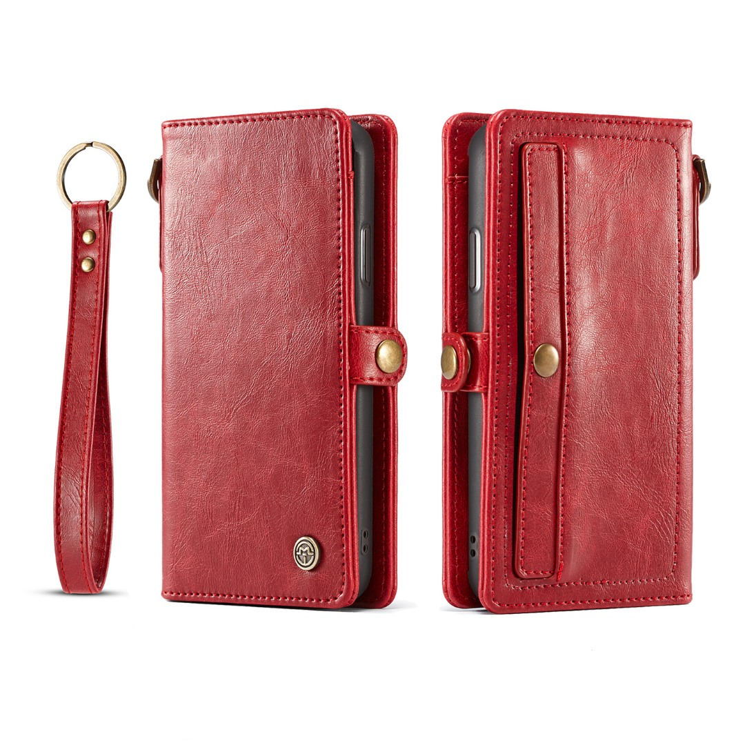 Husa piele portofel, multifunctionala, buzunare carduri, bani, casti, chei, iPhone XR - CaseME, Rosu