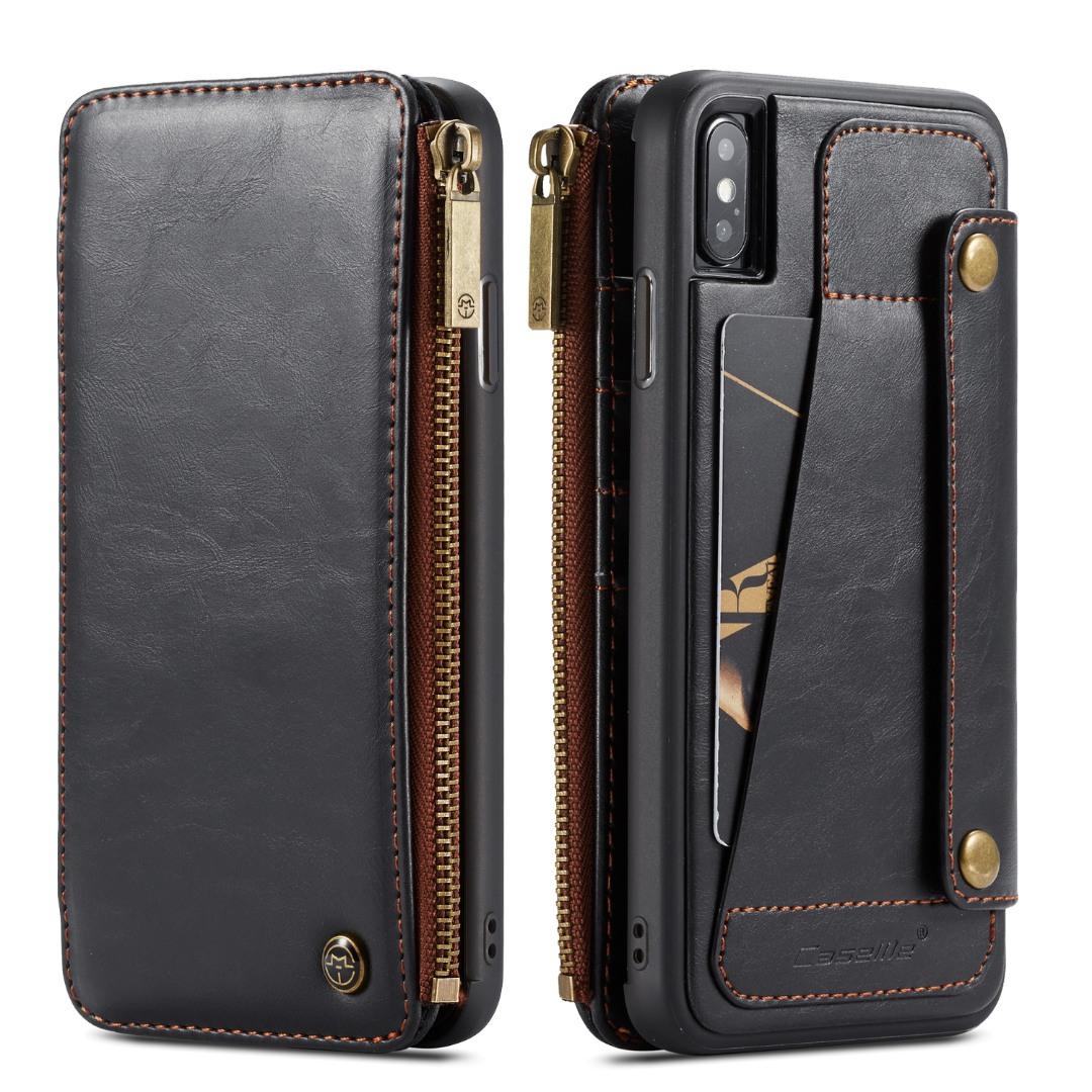 Husa piele portofel detasabil cu capse, buzunar cu fermoar, back cover sau tip carte, iPhone X/ XS - CaseME, Negru