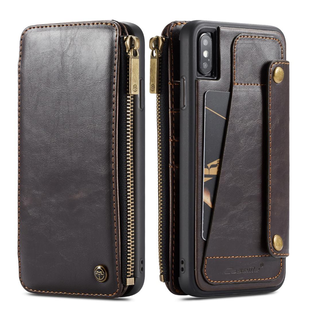 Husa piele portofel detasabil cu capse, buzunar cu fermoar, back cover sau tip carte, iPhone X / XS - CaseME, Maro coffee