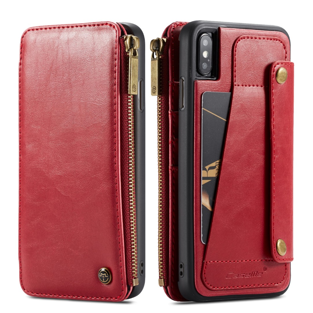 Husa piele portofel detasabil cu capse, buzunar cu fermoar, back cover sau tip carte, iPhone X / XS - CaseME, Rosu