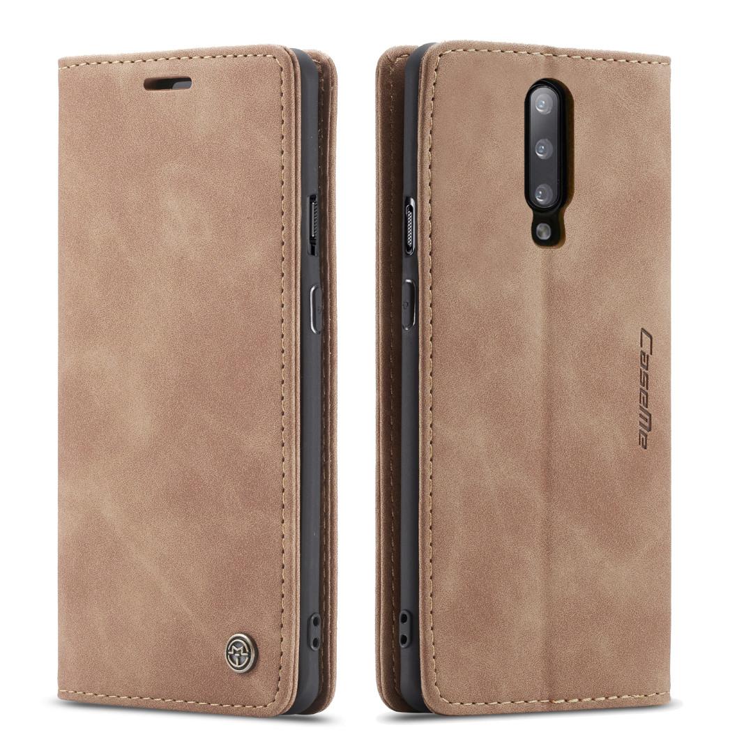 Husa slim piele, tip portofel, stand, inchidere magnetica, textura catifelata, OnePlus 7 Pro - CaseMe, Maro