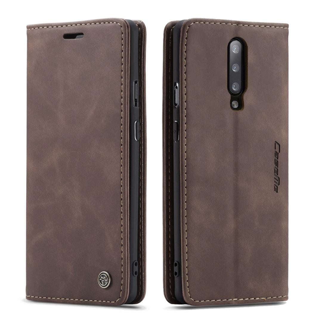 Husa slim piele, tip portofel, stand, inchidere magnetica, textura catifelata, OnePlus 7 Pro - CaseMe, Maro coffee